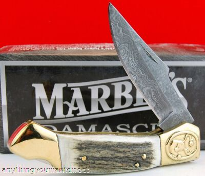 Marbles Damascus Heavy Lockback 508 INDIA STAG Knives
